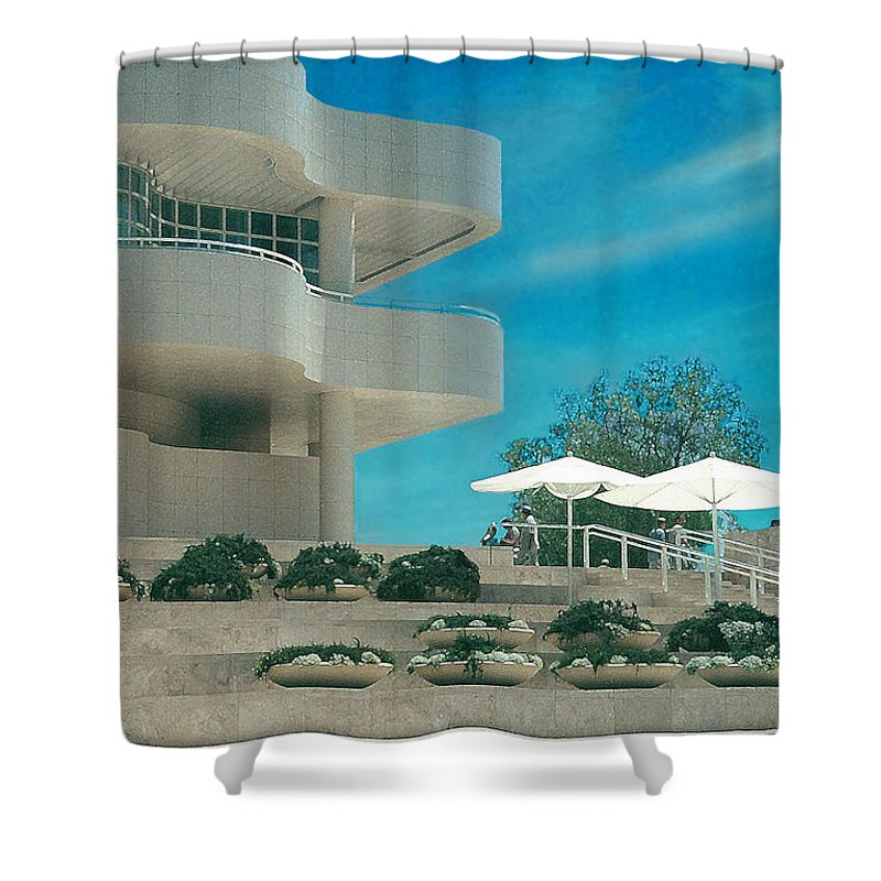 Landscape Shower Curtain featuring the photograph The Getty Panel 1 by Steve Karol