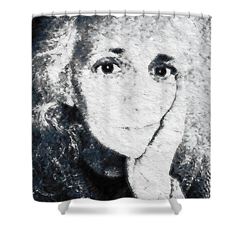 Portrait Shower Curtain featuring the painting The Gingerbread Girl by RC DeWinter