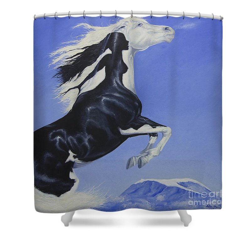 Paint Shower Curtain featuring the painting The Goddess Within by Louise Green