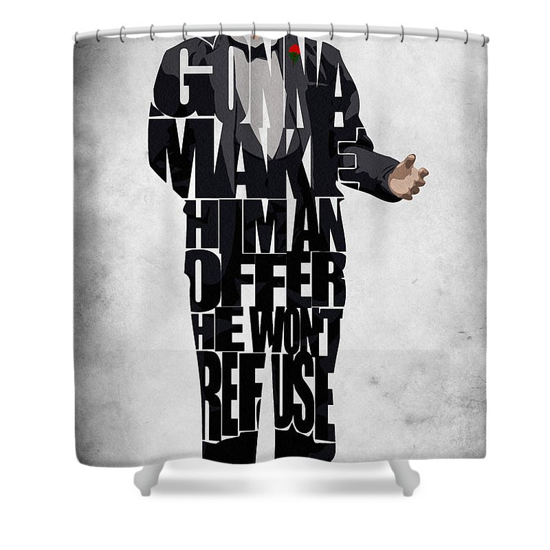 The Godfather Marlon Brando Shower Curtain featuring the painting The Godfather Inspired Don Vito Corleone Typography Artwork by Inspirowl Design