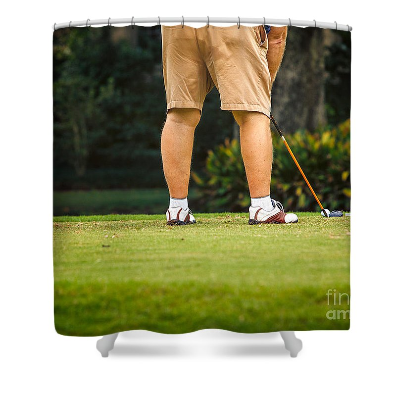 Man Shower Curtain featuring the photograph The Golfer by Mary Smyth
