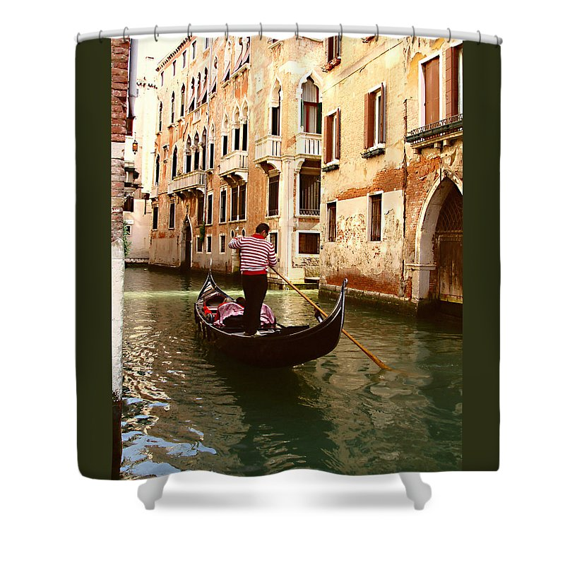 The Gondolier Shower Curtain featuring the photograph The Gondolier by Ellen Henneke