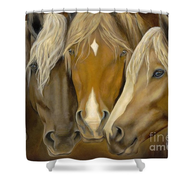 Horse Shower Curtain featuring the painting The Good Life by Catherine Davis