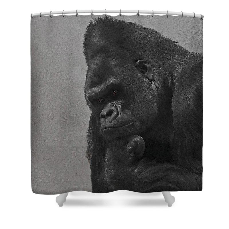 Gorilla Shower Curtain featuring the digital art The Gorilla by Ernie Echols