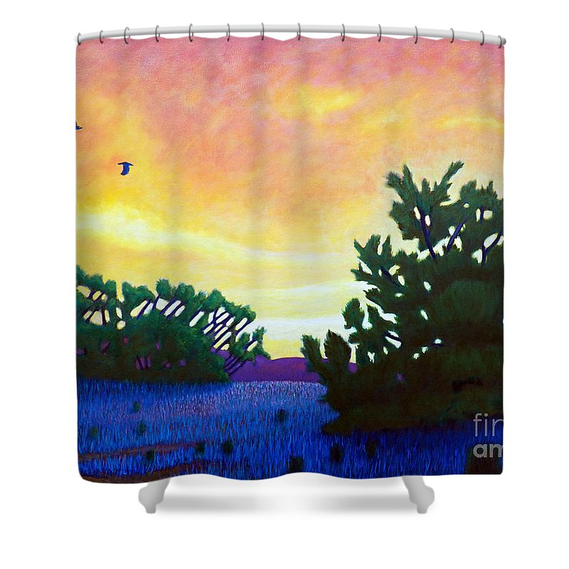 Landscape Shower Curtain featuring the painting The Gospel Truth by Brian Commerford