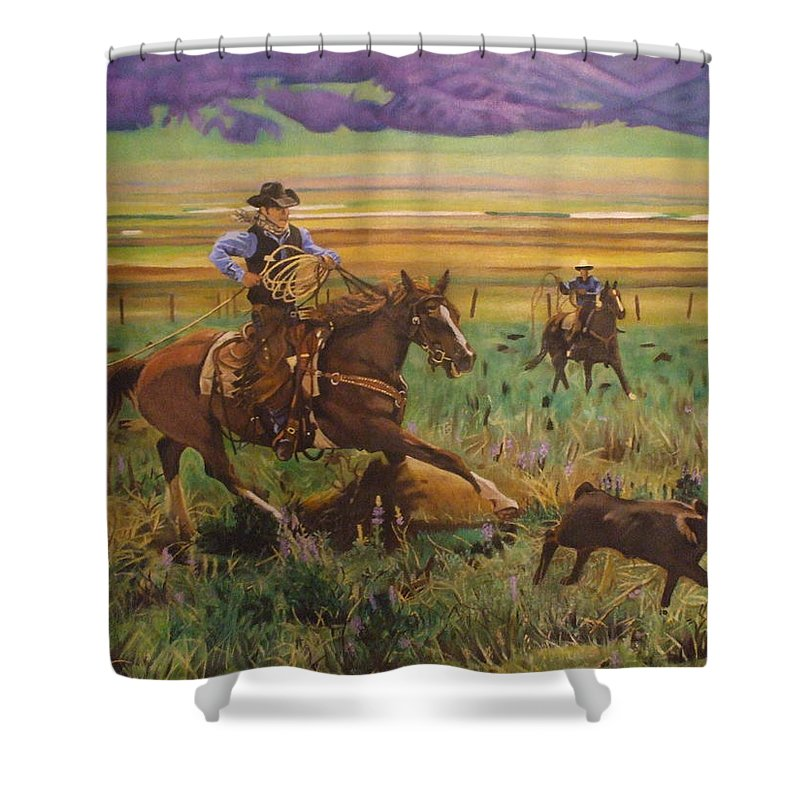 Cowboys Shower Curtain featuring the painting The Great Escape by Jamie Preston