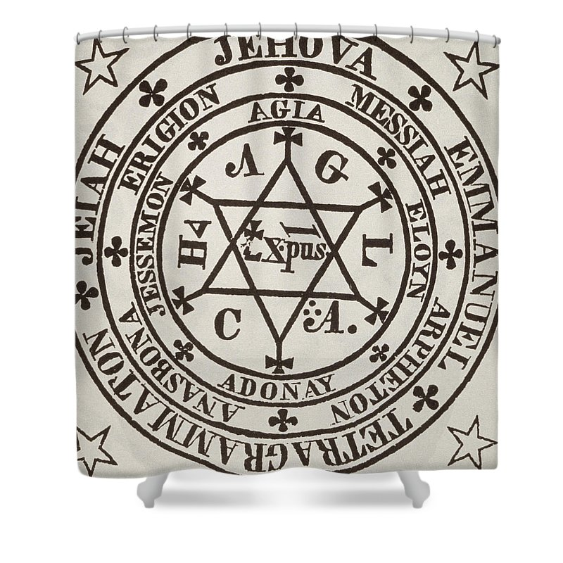 Occult Shower Curtain Featuring The Drawing Great Magic Circle Of Agrippa For Evocation