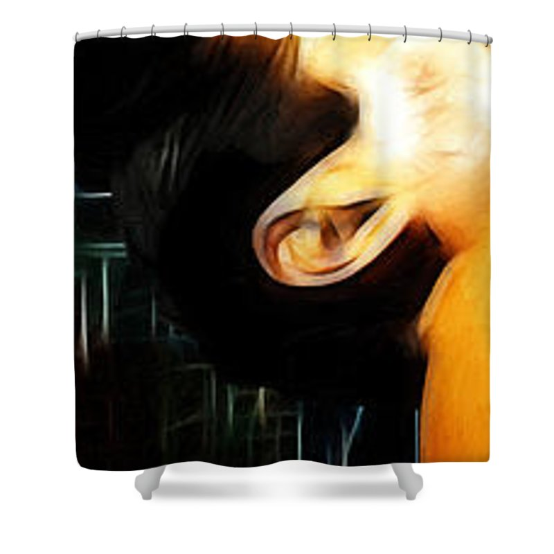 Rock Music Freddie Mercury Queen Famous Band 80s 70s 90s Star Song Songwriter Shower Curtain featuring the painting The Great Pretender 1 by Steve K
