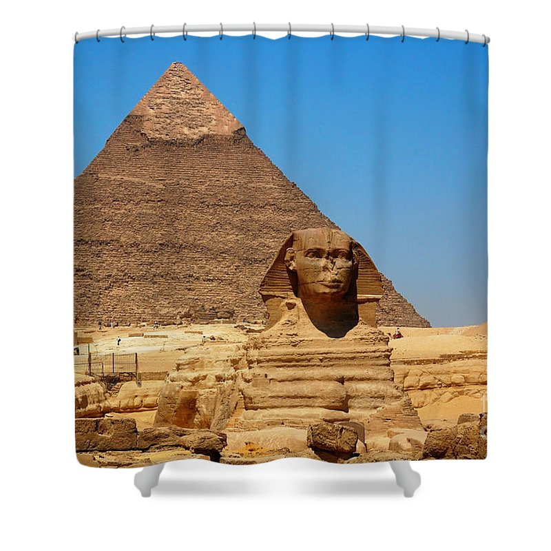 the great sphinx of giza and pyramid of khafre shower curtain for