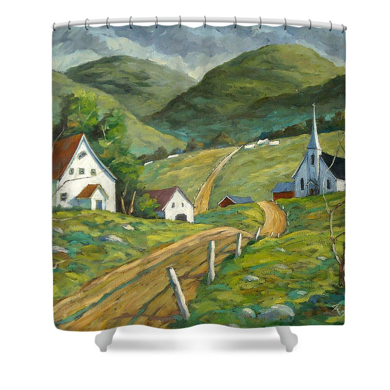 Hills Shower Curtain featuring the painting The Green Hills by Richard T Pranke