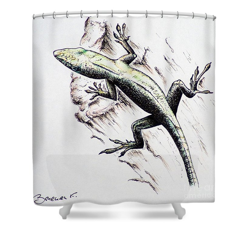 Ink Sketch Shower Curtain featuring the drawing The Green Lizard by Katharina Filus