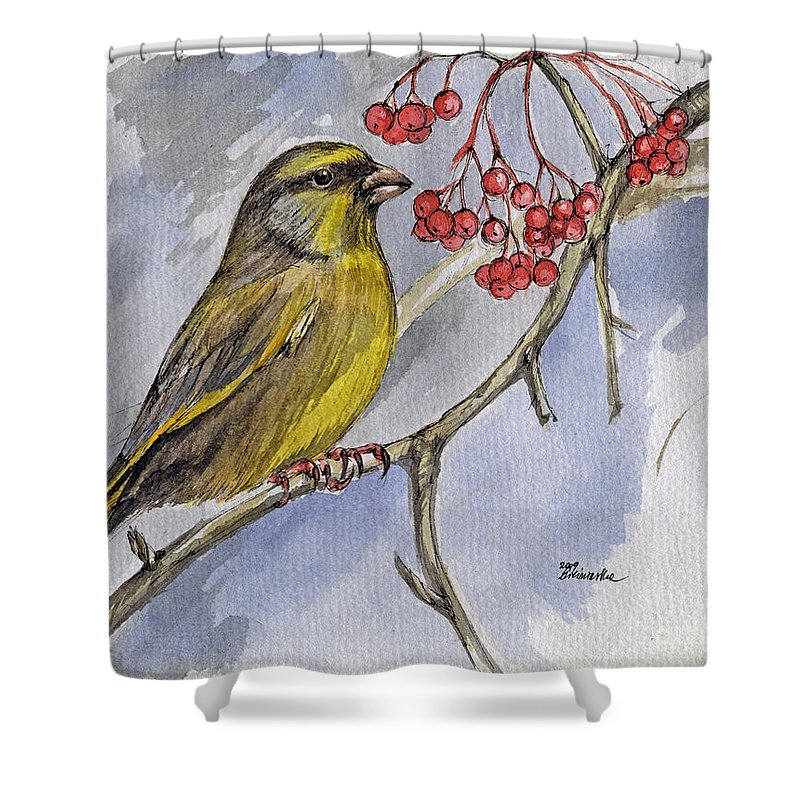 Greenfinch Shower Curtain featuring the painting The Greenfinch by Angel Ciesniarska