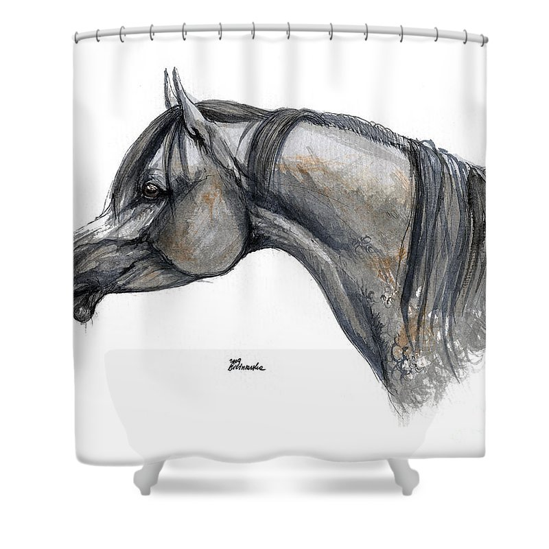 Horse Shower Curtain featuring the painting The Grey Arabian Horse 11 by Angel Ciesniarska