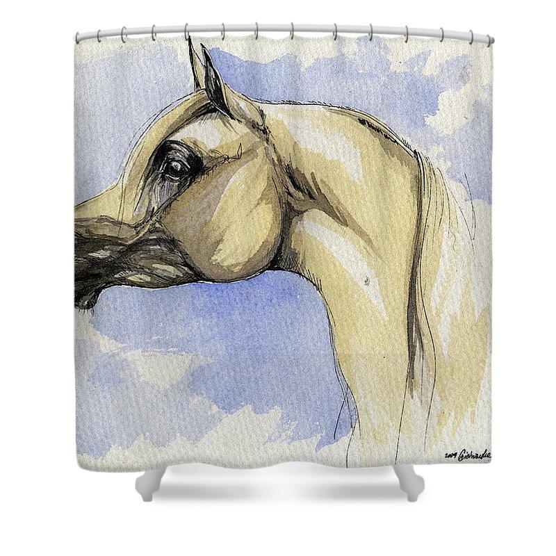 Arabian Shower Curtain featuring the painting The Grey Arabian Horse 12 by Angel Ciesniarska