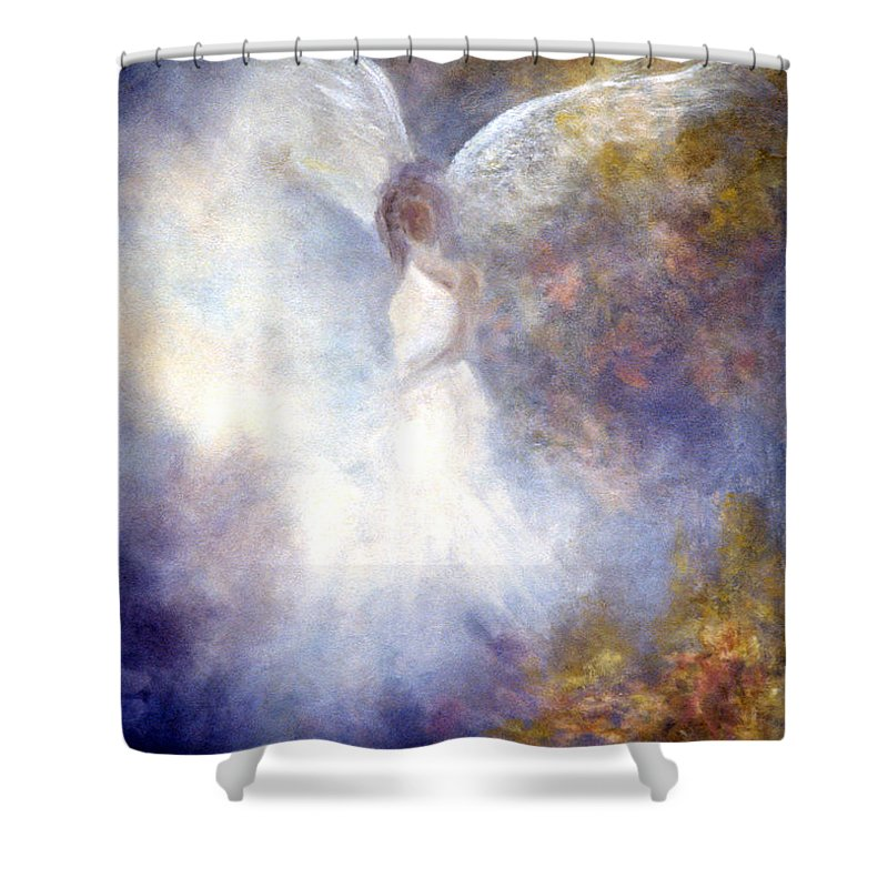 Angel Shower Curtain featuring the painting The Guardian by Marina Petro