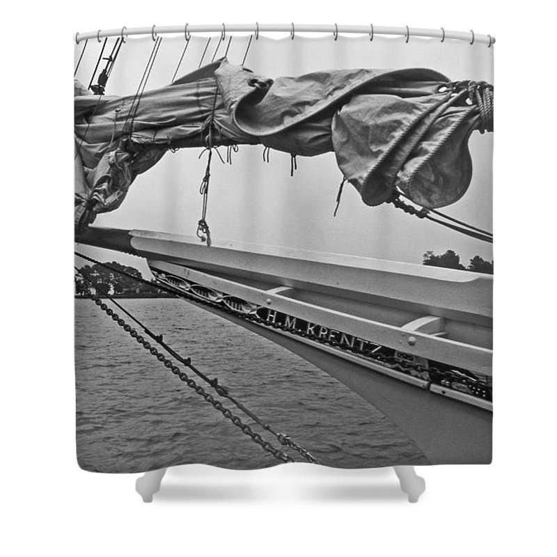 Maritime Shower Curtain featuring the photograph The H M Krentz by Skip Willits