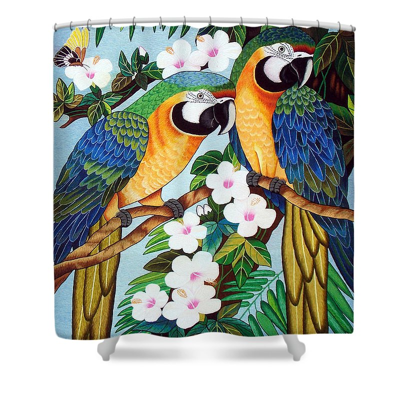 Parrot Shower Curtain featuring the tapestry - textile The Harlerquin Hand Embroidery by To-Tam Gerwe
