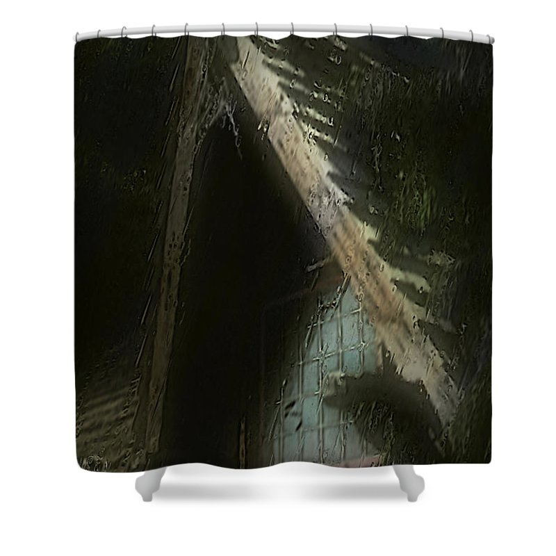 House Shower Curtain featuring the painting The Haunted Gable by RC DeWinter
