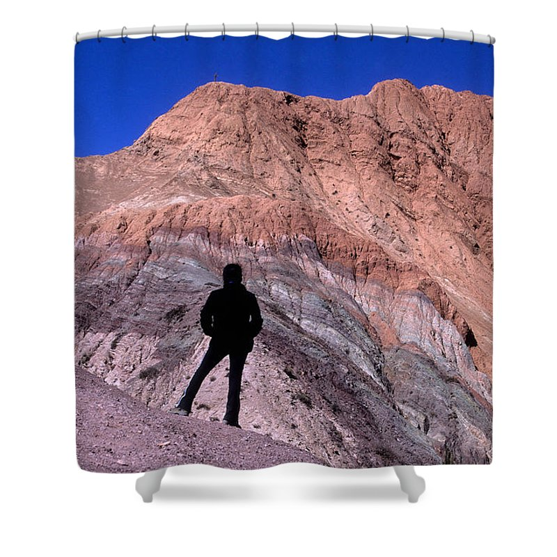 Argentina Shower Curtain featuring the photograph The Hill Of Seven Colours Jujuy Argentina by James Brunker