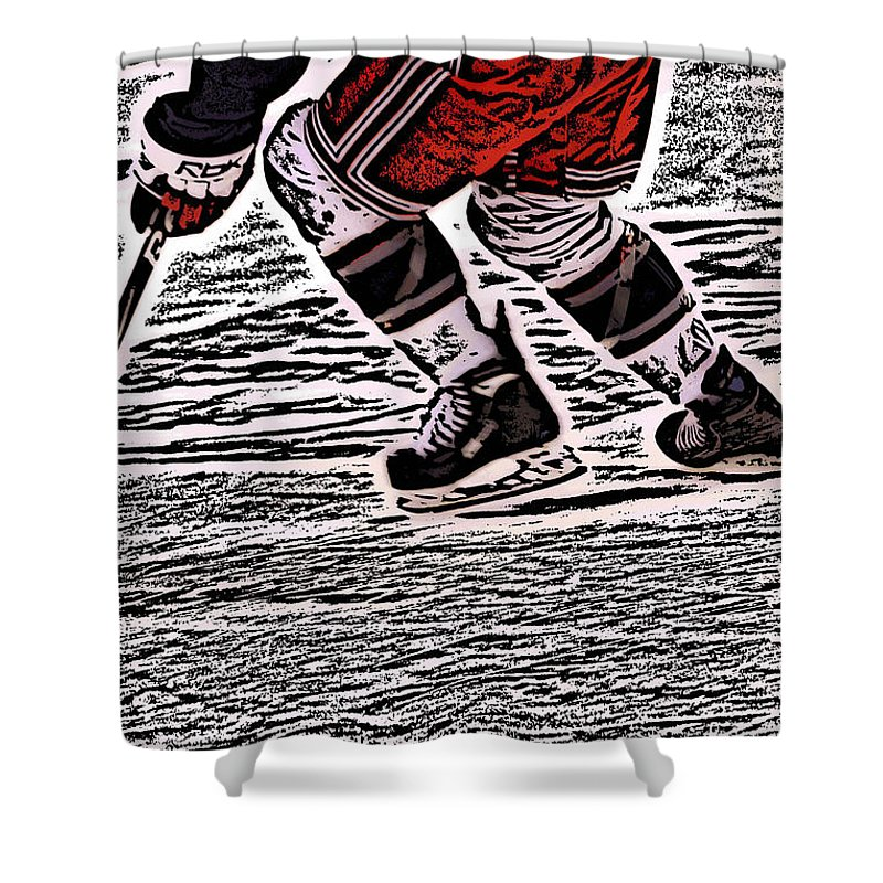 Hockey Shower Curtain featuring the photograph The Hockey Player by Karol Livote