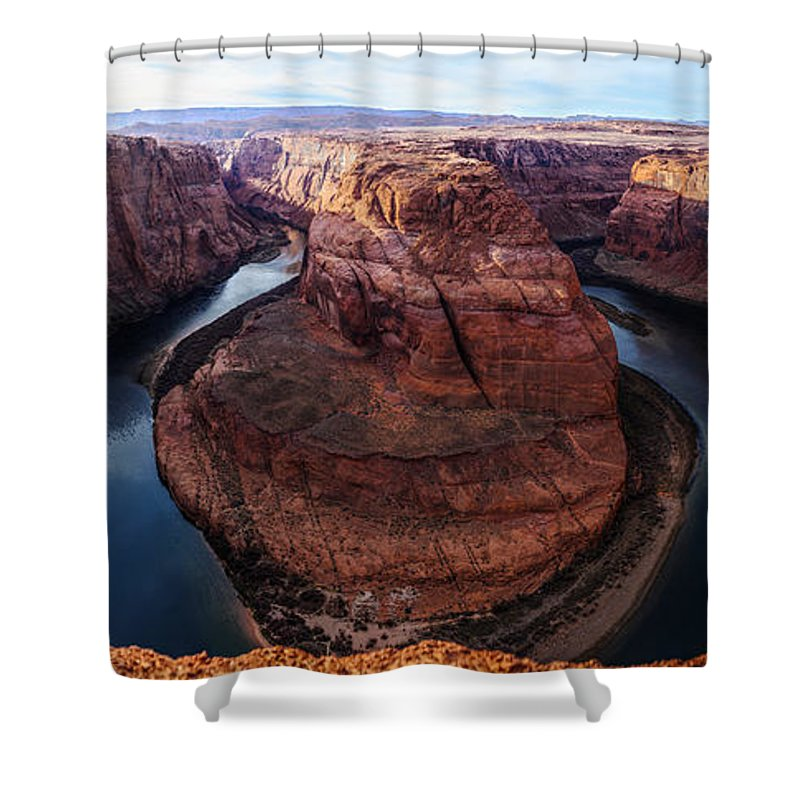 Horseshoe Bend Shower Curtain featuring the photograph The Horseshoe River At Ultra High Resolution by Jason Chu