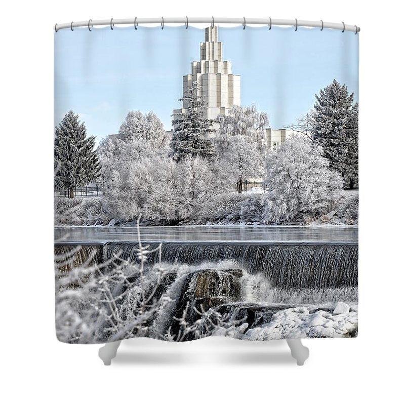Temple Shower Curtain featuring the photograph The Idaho Falls Temple by Image Takers Photography LLC - Laura Morgan