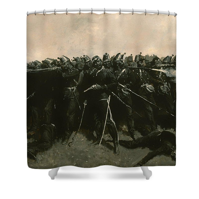 Painting Shower Curtain featuring the painting The Infantry Square by Mountain Dreams