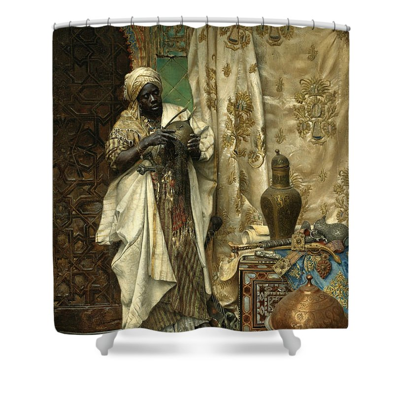 Ludwig Deutsch Shower Curtain featuring the painting The Inspection by Ludwig Deutsch