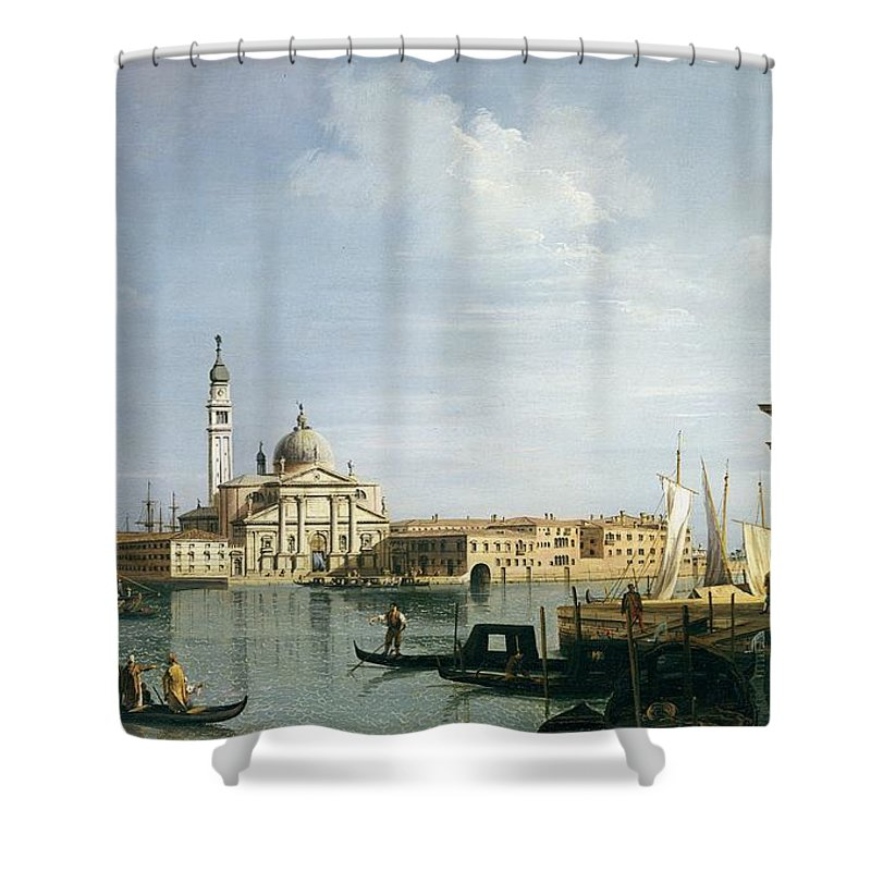 Venice Shower Curtain featuring the painting The Island Of San Giorgio Maggiore by Canaletto