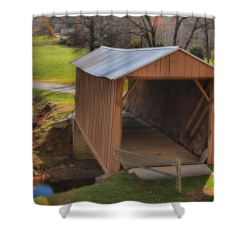 Smith River Shower Curtain featuring the photograph The Jacks Creek Covered Bridge by Adam Jewell