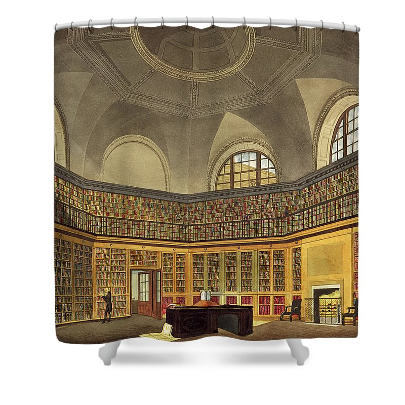 Interior Shower Curtain featuring the drawing The Kings Library by James Stephanoff