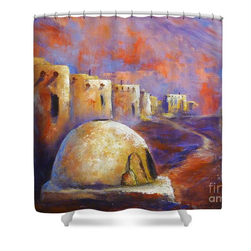 Southwest Art Shower Curtain featuring the painting The Horno At Acoma by Sharon Abbott-Furze