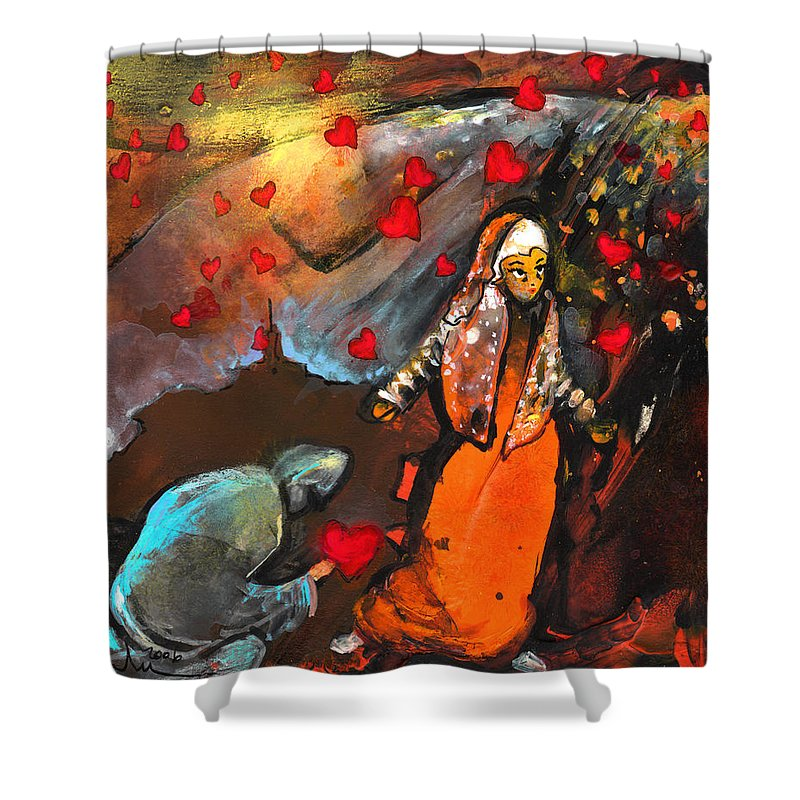 Valentine Shower Curtain featuring the painting The Knight Of Your Heart by Miki De Goodaboom