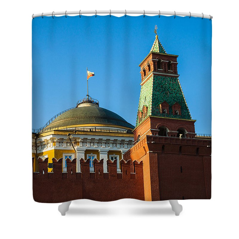 Architecture Shower Curtain featuring the photograph The Kremlin Senate Building - Square by Alexander Senin