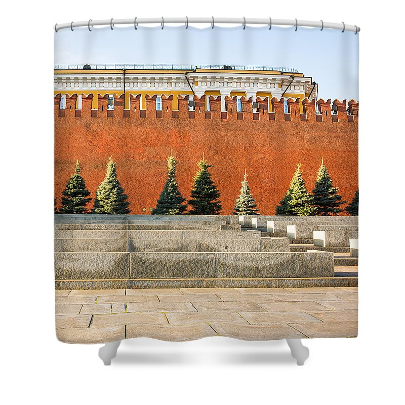 Architecture Shower Curtain featuring the photograph The Kremlin Wall - Square by Alexander Senin