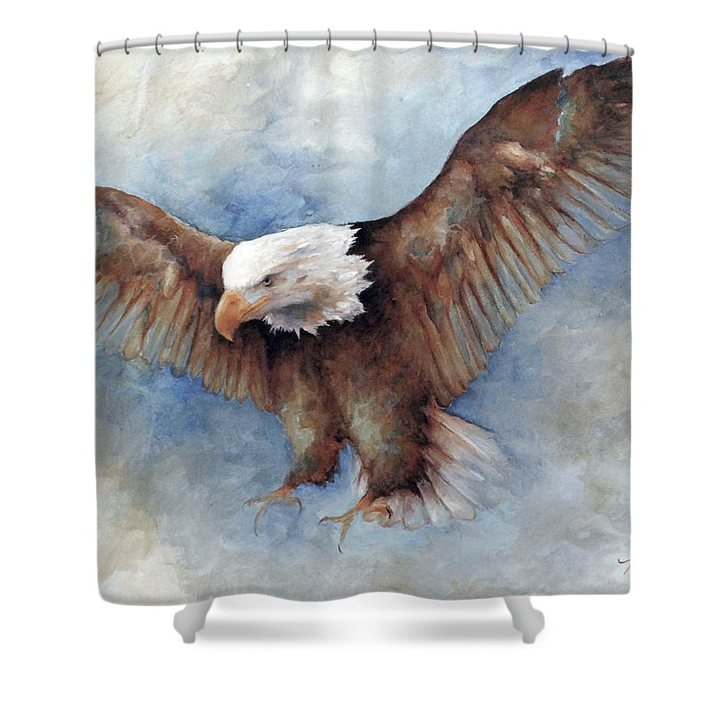 Eagle Birds Nature Wildlife Animals Shower Curtain featuring the painting The Landing by Mary Zins