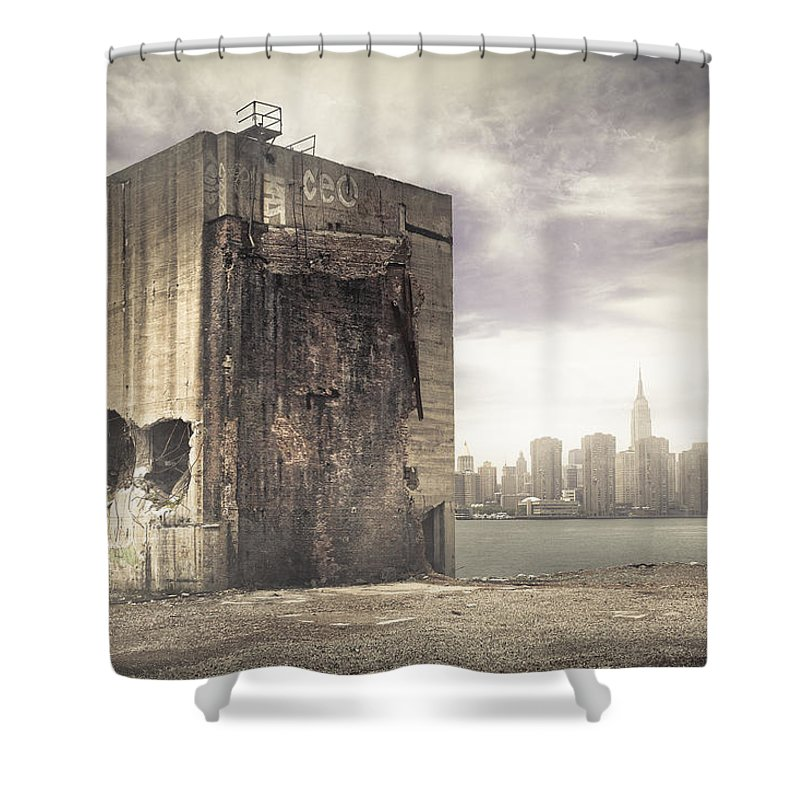 Abandoned Shower Curtain Featuring The Photograph Apocalypse Brooklyn Waterfront