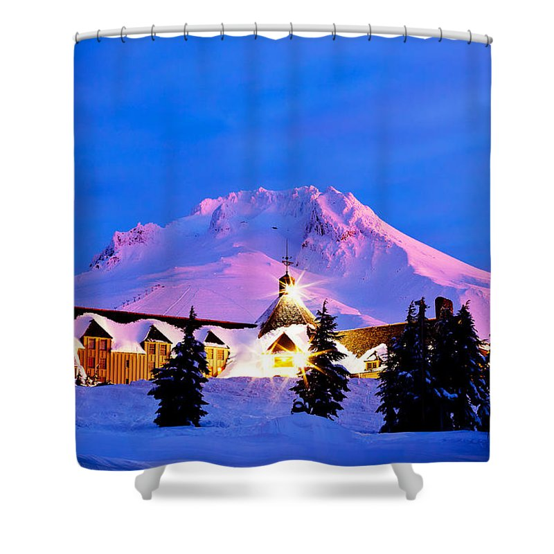 Timberline Lodge Shower Curtain featuring the photograph The Last Sunrise by Darren White