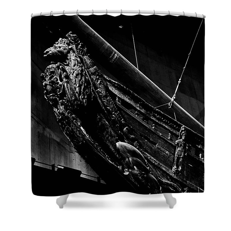 Djurg�rden Shower Curtain featuring the photograph The Lion. Wasa-museum. Stockholm 2014 by Jouko Lehto