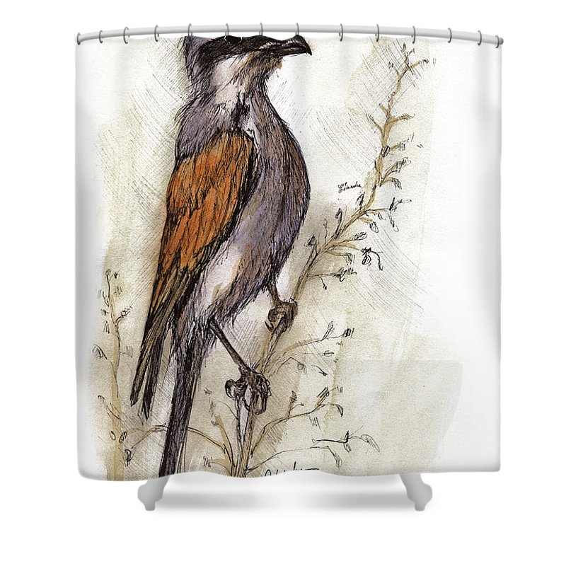 Bird Shower Curtain featuring the painting The Little Bird On The Twig by Angel Ciesniarska