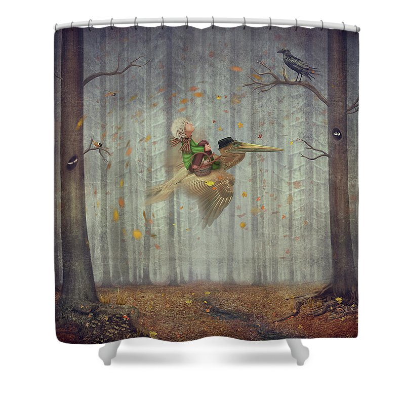 Flowerbed Shower Curtain featuring the digital art The Little Boy And Brown Pelican Fly by Maroznc
