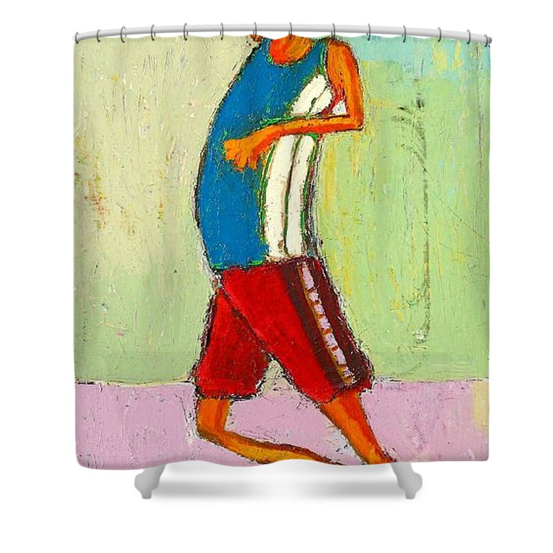 Abstract Shower Curtain featuring the painting The Little Champion by Habib Ayat