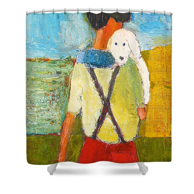 Abstract Shower Curtain featuring the painting The Little Puppy by Habib Ayat