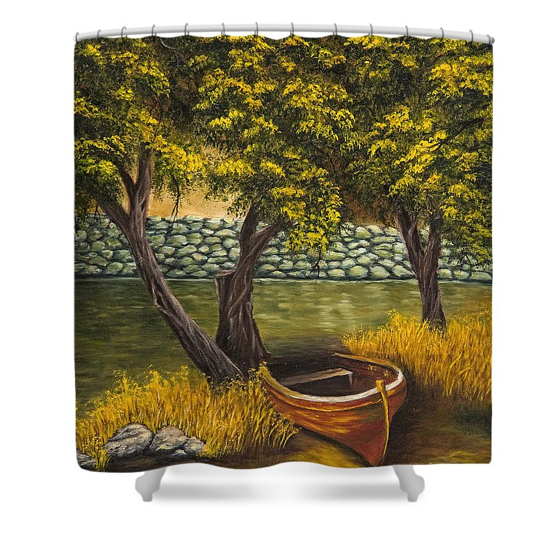 Landscape Shower Curtain featuring the painting The Little Red Boat by Darice Machel McGuire