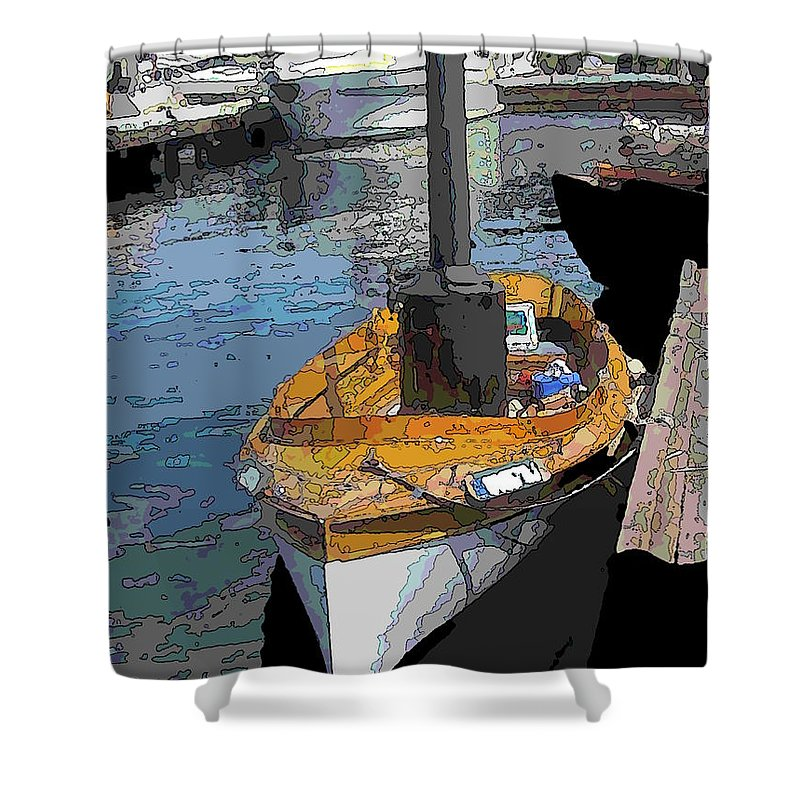 Steam Shower Curtain featuring the digital art The Little Steamboat That Could by Tim Allen