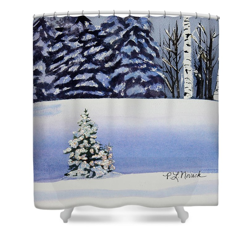 Christmas Shower Curtain featuring the painting The Lone Christmas Tree by Patricia Novack