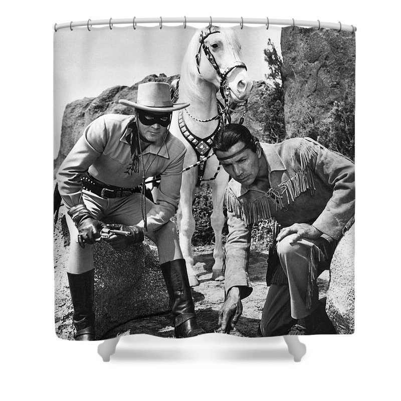 1950's Shower Curtain featuring the photograph The Lone Ranger And Tonto by Underwood Archives
