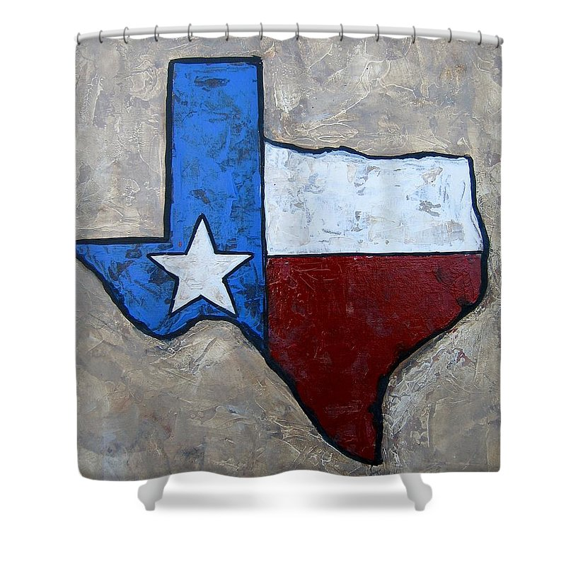 Texas Shower Curtain featuring the painting The Lone Star State by Suzanne Theis