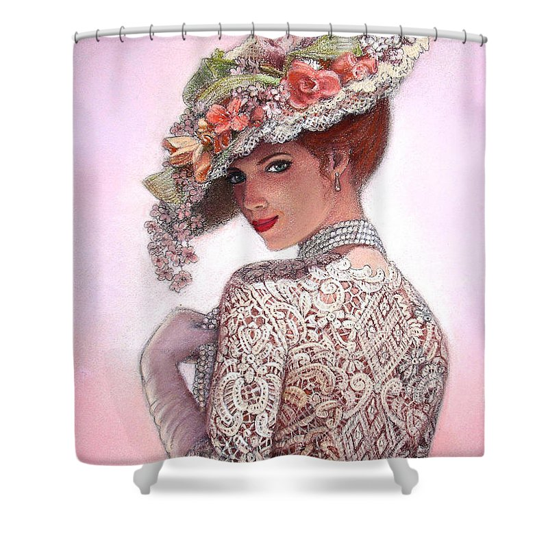 Portrait Shower Curtain featuring the painting The Look Of Love by Sue Halstenberg