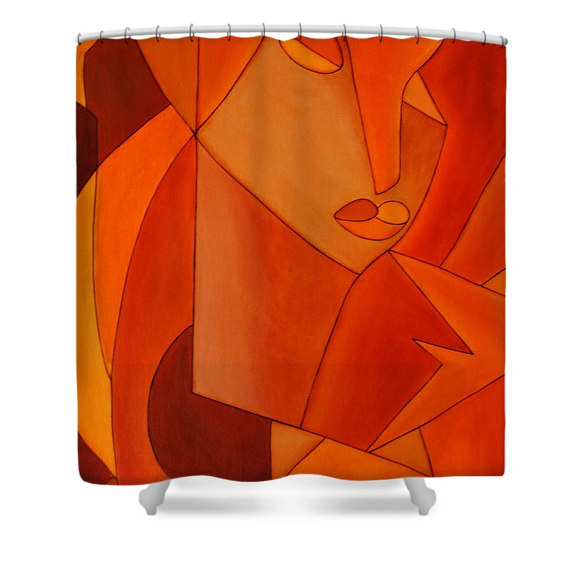 Oil Shower Curtain featuring the painting The Look by Sonali Kukreja